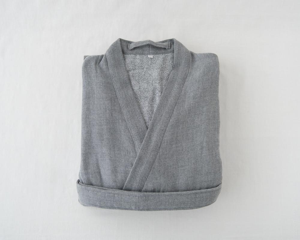 UCHINO_Sumi Gauze & Pile-Kimono-Robe_Grey