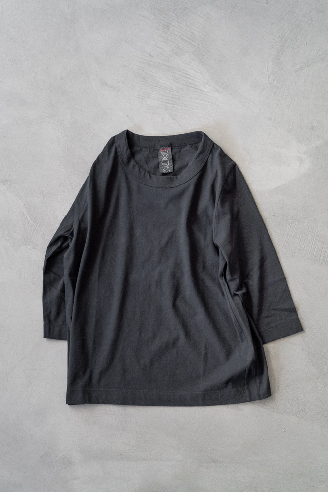 Homspun_3/4 Sleeve T-shirt_black_top
