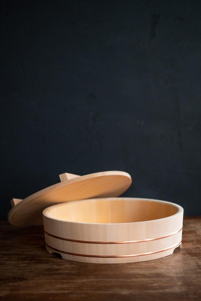 Azmaya_Kiso Sawara Sushi Rice Mixing Bowl with Lid - 7go_top