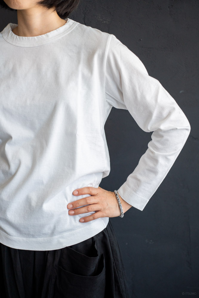 homspun-women's cotton long sleeve t-shirt-white