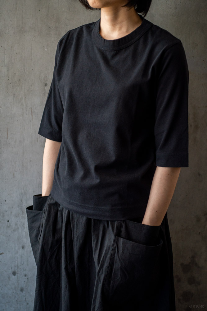 homspun-women's cotton half sleeve t-shirt-black