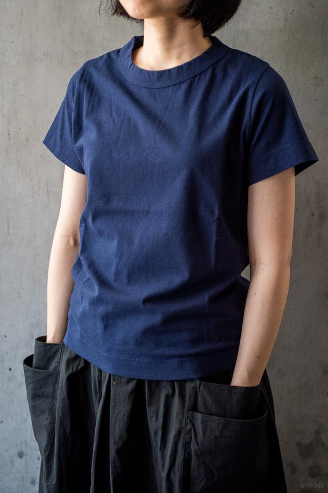 homspun-women's cotton short sleeve t-shirt-navy