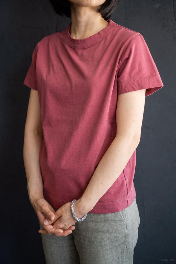 homspun-women's cotton short sleeve t-shirt-rasberry